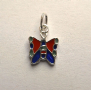 Sterling Silver Enamelled Kids extra small Butterfly pendant